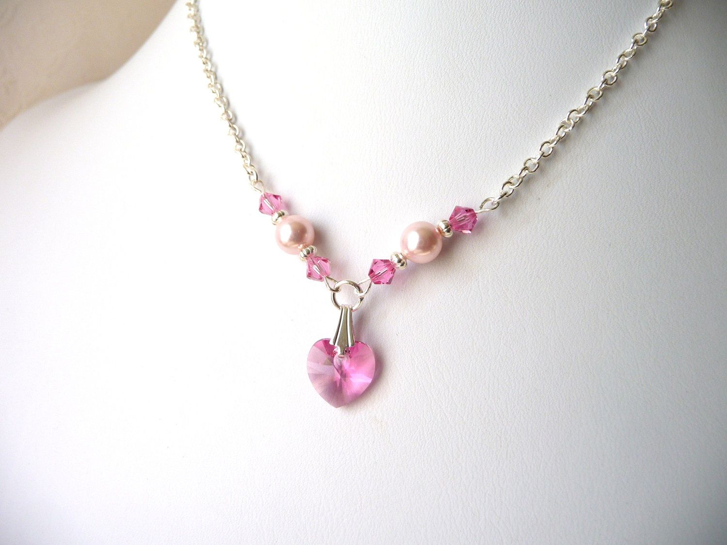 Childrens Heart Necklace Pink Heart Necklace Kids Jewelry Etsy In 2020 Little Girl Jewelry Crystal Heart Necklace Pink Heart Necklace