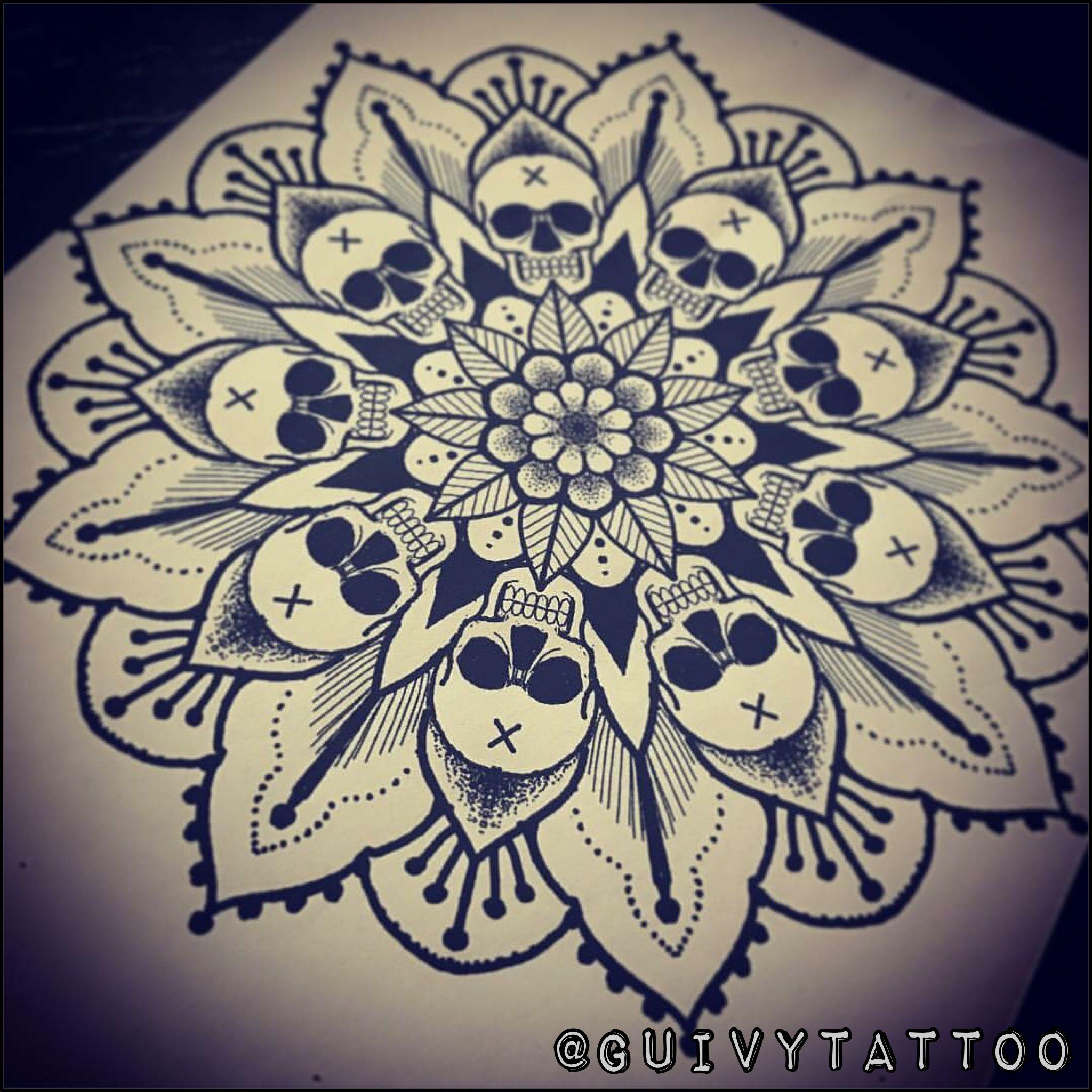 guivy tattoo geneva mandala skull tattoo tatouage. Black Bedroom Furniture Sets. Home Design Ideas
