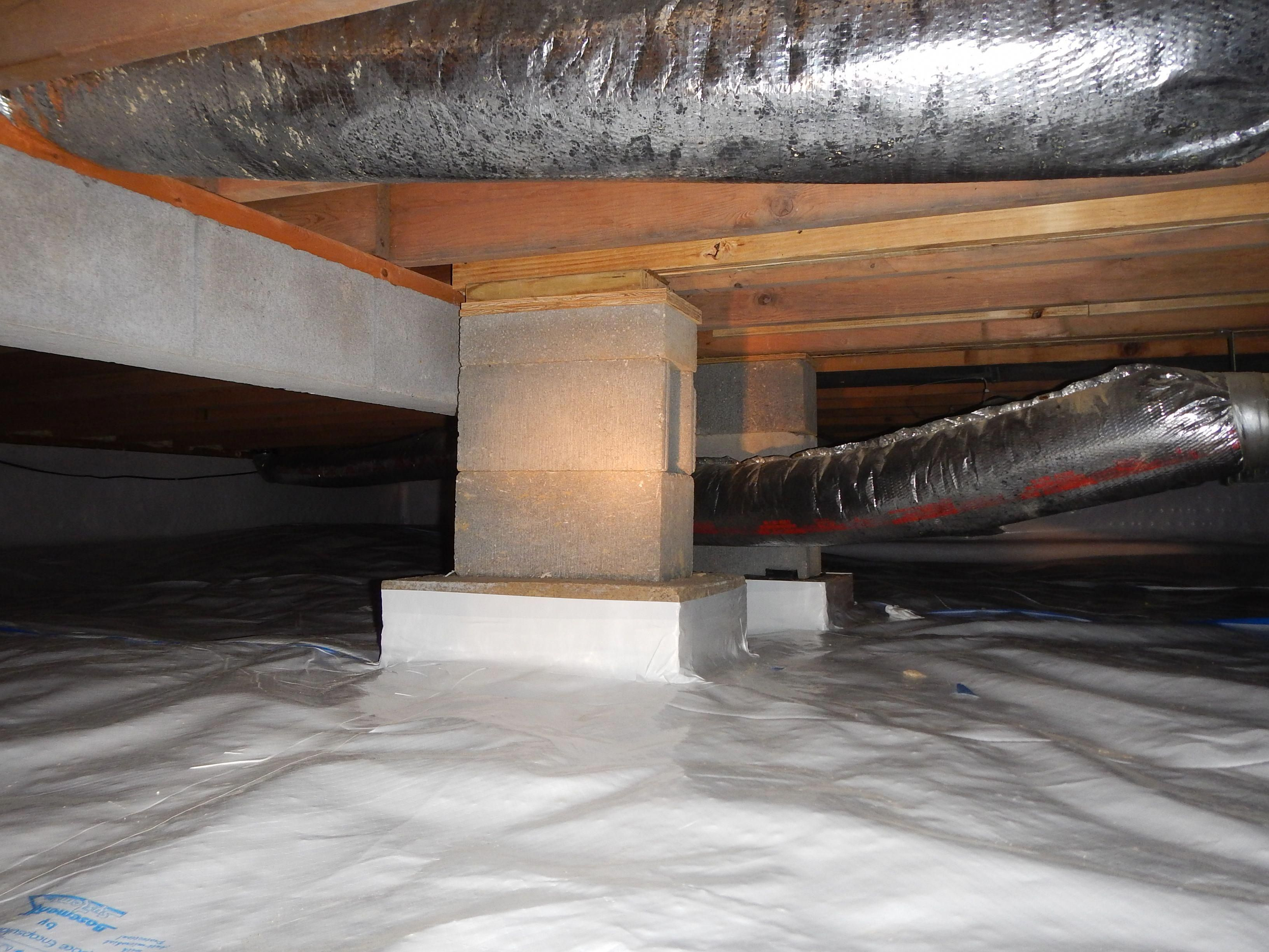 Crawlspace Block Piers Added To A Beam Between The Floor Joists That Is Preventing The Sub Floor From Sagging An Interior Home Repairs Home Fix Crawlspace