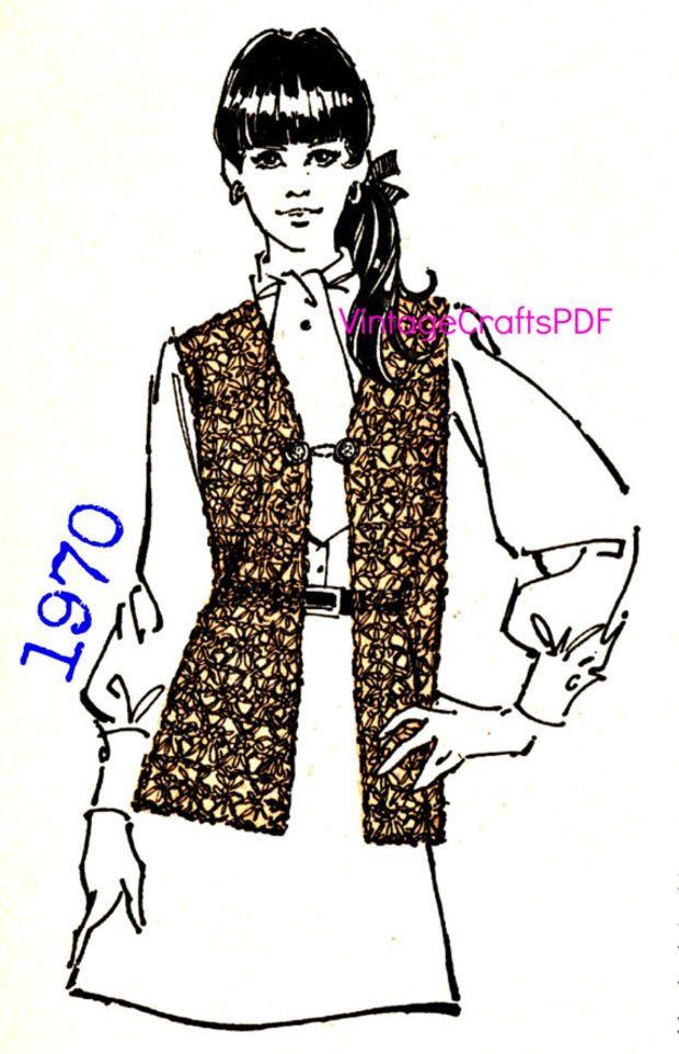 1970 Crochet Pattern Vest Hippie Clothing Vest Pattern Hippie