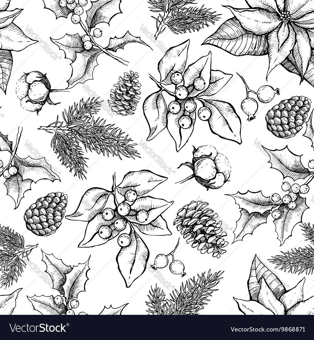 Vector Christmas and New Year hand drawn vintage pattern for ...