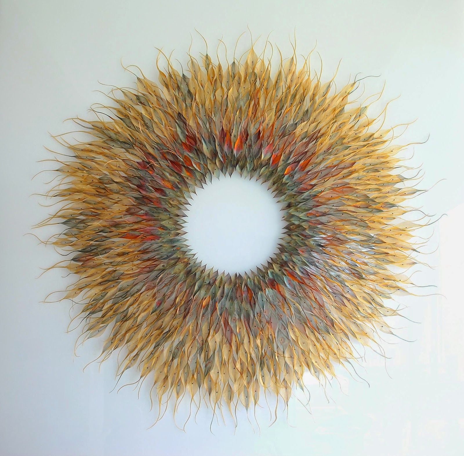 Simply creative woven metal leaf and seed installations by michelle