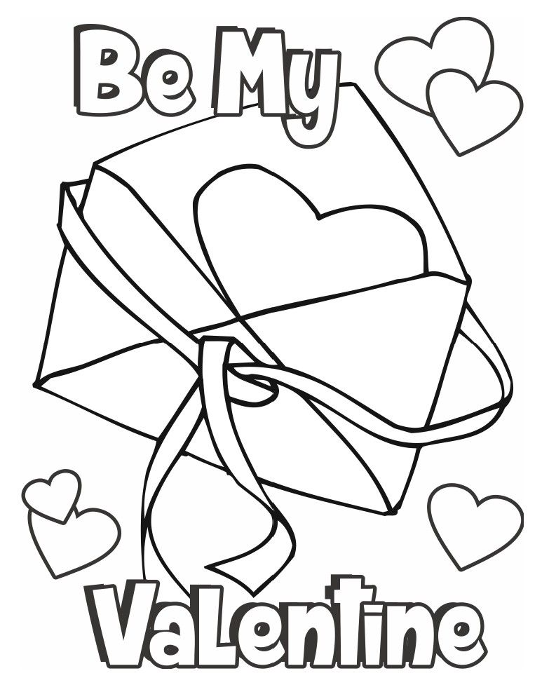 Valentine Coloring Page Card Valentines Day Coloring Page