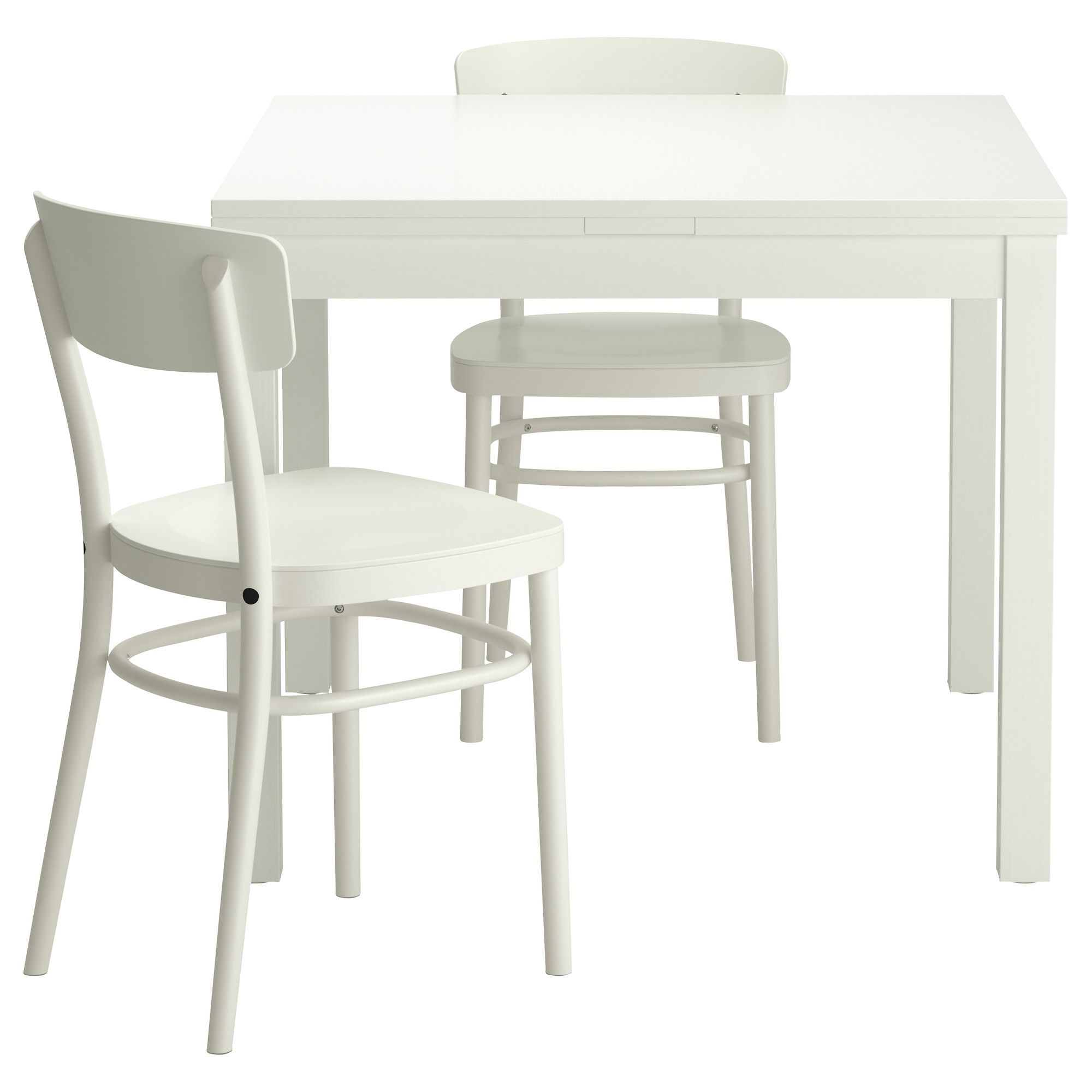 IKEA BJURSTA/IDOLF table and 2 chairs The clear-lacquered surface is ...