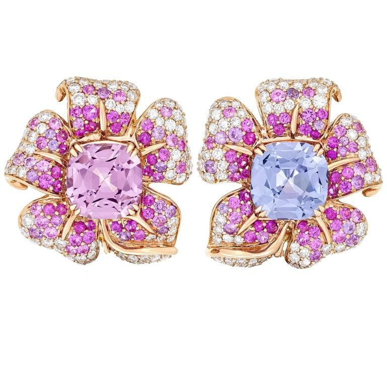 Margot McKinney Stunning 10.19 Carat Spinel Pink Purple Sapphire Flower Earrings | See more rare vintage Clip-on Earrings at https://www.1stdibs.com/jewelry/earrings/clip-on-earrings