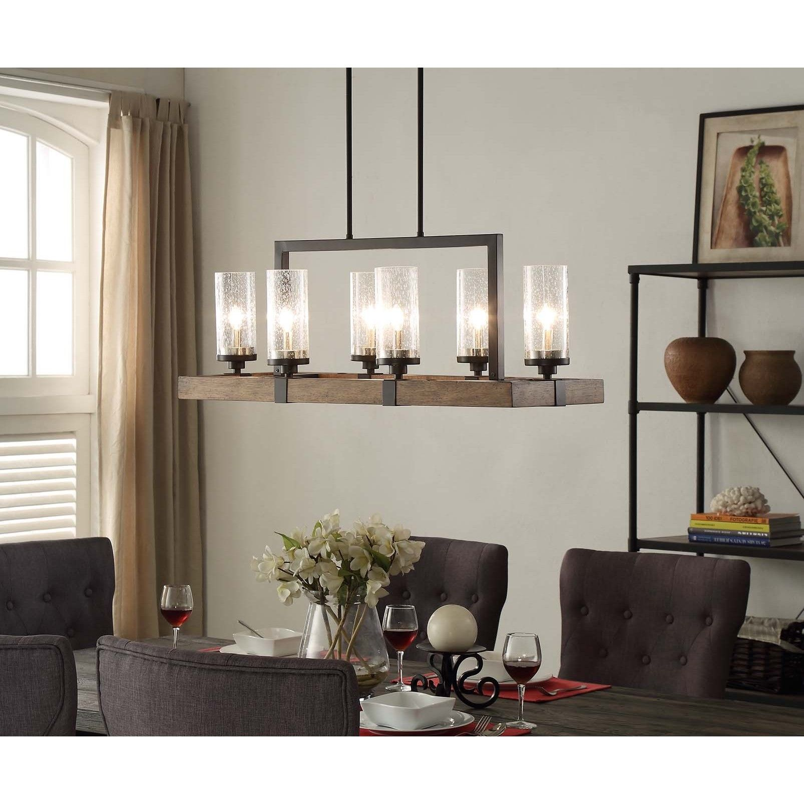 This Unique Light Fixture Features A Rectangular Shaped Frame Made Of Warm Brown Wood That Is Accented By Black Metal And Glass Shades