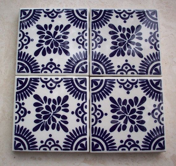 Vintage Ceramic Tile Made in Mexico and Painted in Navy Blue and Off ...