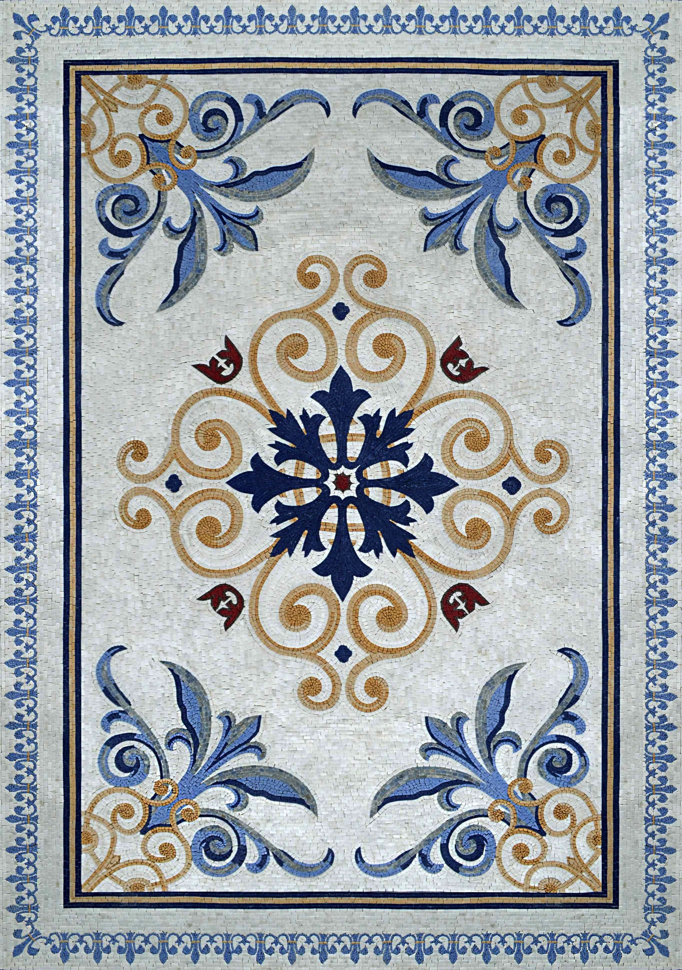 Floral Geometric Pattern Marble Mosaic Rug Mosaic Rugs Mosaic Art Mosaic Artwork