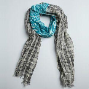 Sayami Teal and Black Printed Lightweight Wool Scarf
