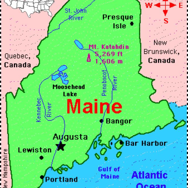 Map of Maine. | MY FAVORITE STATES! | Pinterest