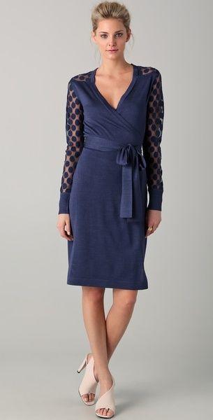 39196fe3b Diane Von Furstenberg Wrap Dress | Diane Von Furstenberg Linda Lace Polka  Dot Wrap Dress in Blue (navy .
