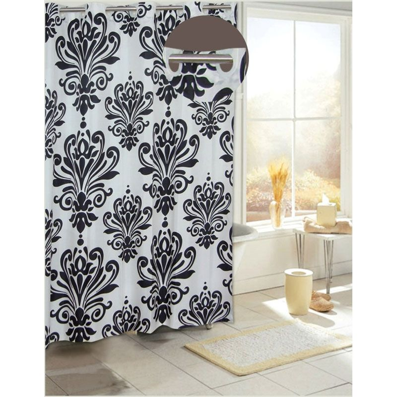 Black damasks elegantly cover this white shower curtain, making it worthy of any bathroom decor