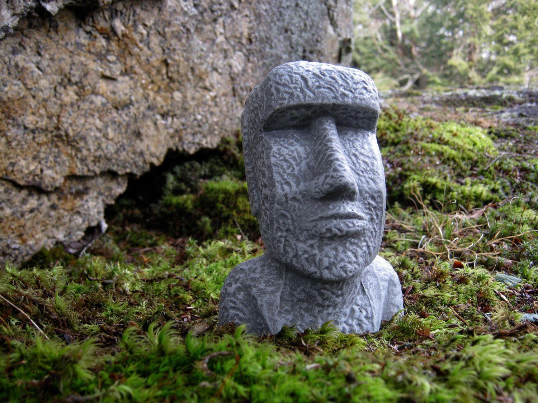 Easter Island Head, Moai Head, Concrete Heads, Garden Decor, Cement Easter  Island