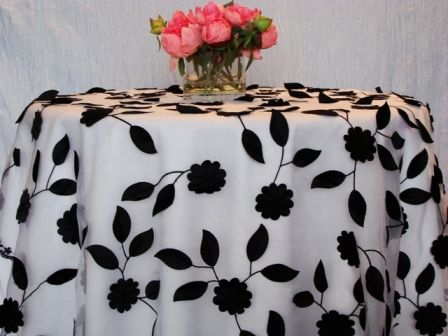 Striking Black And White Tablecloth With Floral Applique. | Sweetheart/head  Table | Pinterest | White Tablecloth, Chair Covers And Wedding Tables