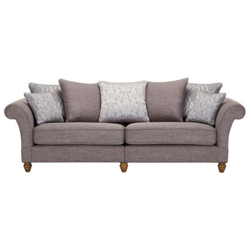 Dorchester 4 Seater Pillow Back Sofa In Civic Smoke With Silver Scatters   Fabric Sofa, Leather Furniture, Oak Furniture Land