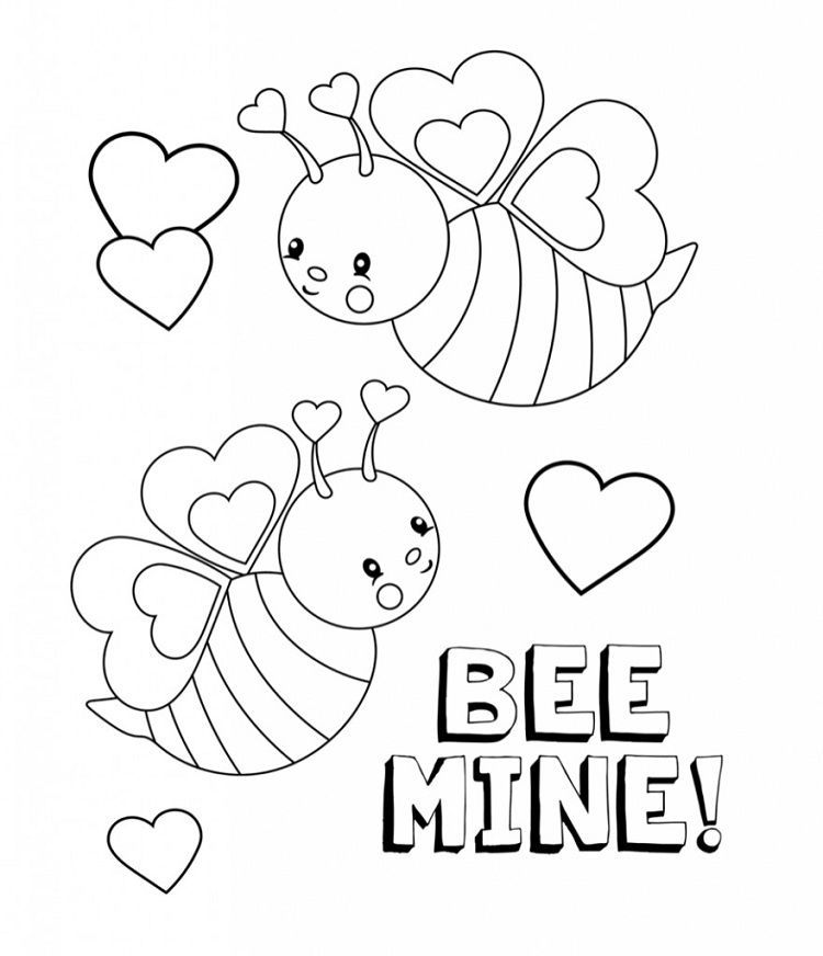 Bee Mine Coloring Pages Valentines Day Coloring Page Valentine Coloring Sheets Printable Valentines Coloring Pages