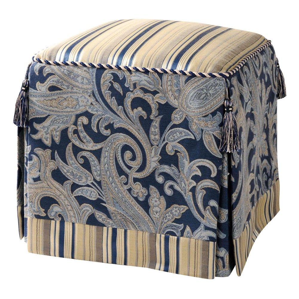 Jennifer Taylor Home Classic Paisley Vanity Stool Blue Taupe 2356-598596598 at Dynamic Home Decor