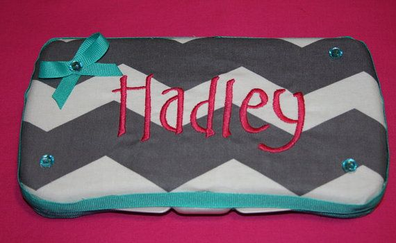 Custom embroidered gray chevron diaper wipe by SoSewSimplySweet, $13.00