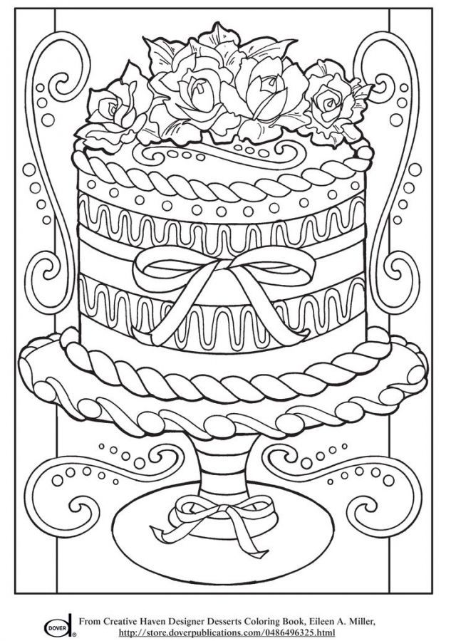 Realistic Wedding Cake Advanced Coloring Pages For Grown Ups I