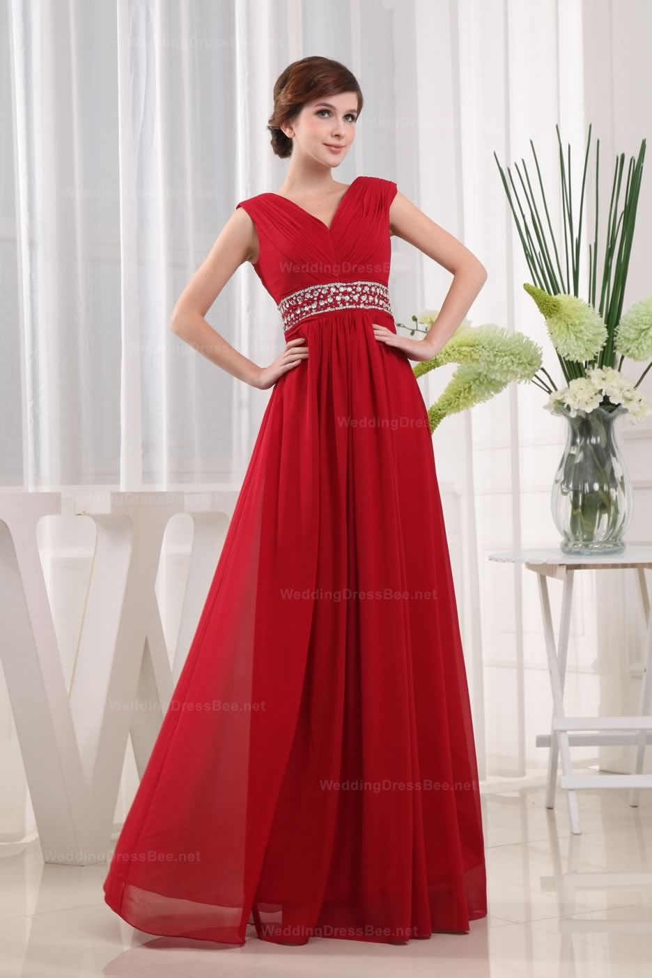 Vneck beaded waist chiffon slim aline evening dress dresses