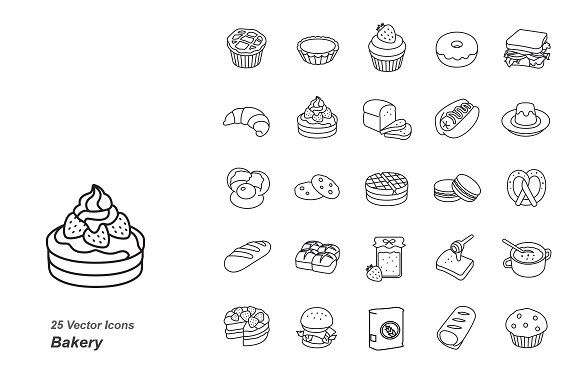 Bakery Outlines Vector Icons Bakery Icon Vector Icons Icon