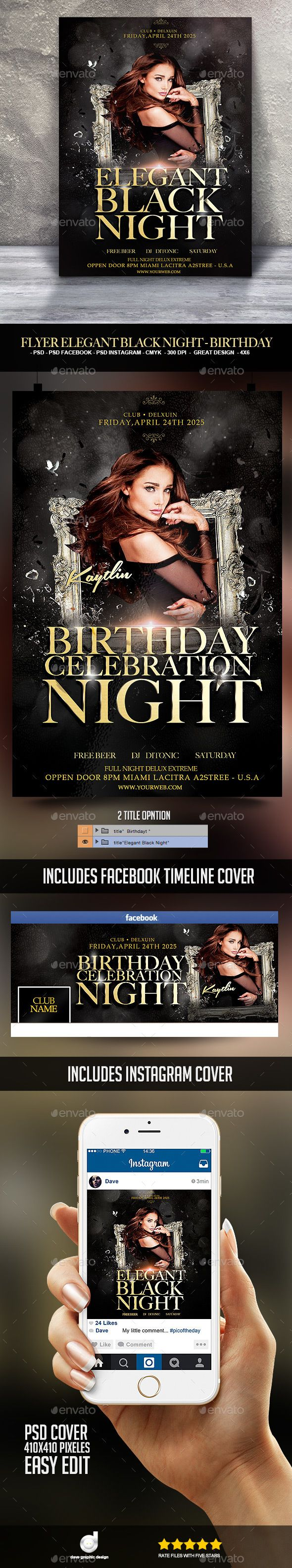 Flyer Elegant Black Night  Birthday  Download Heres And Flyer