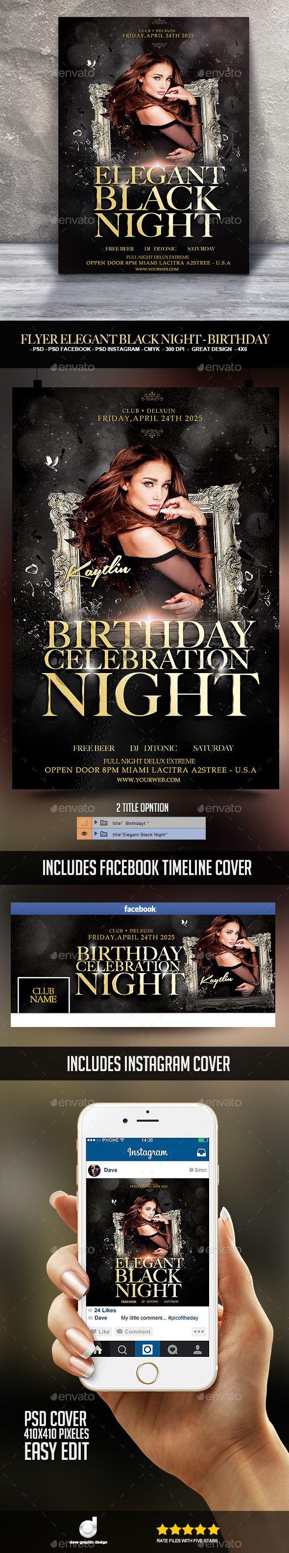 Flyer Elegant Black Night  Birthday  Download Heres And Flyer