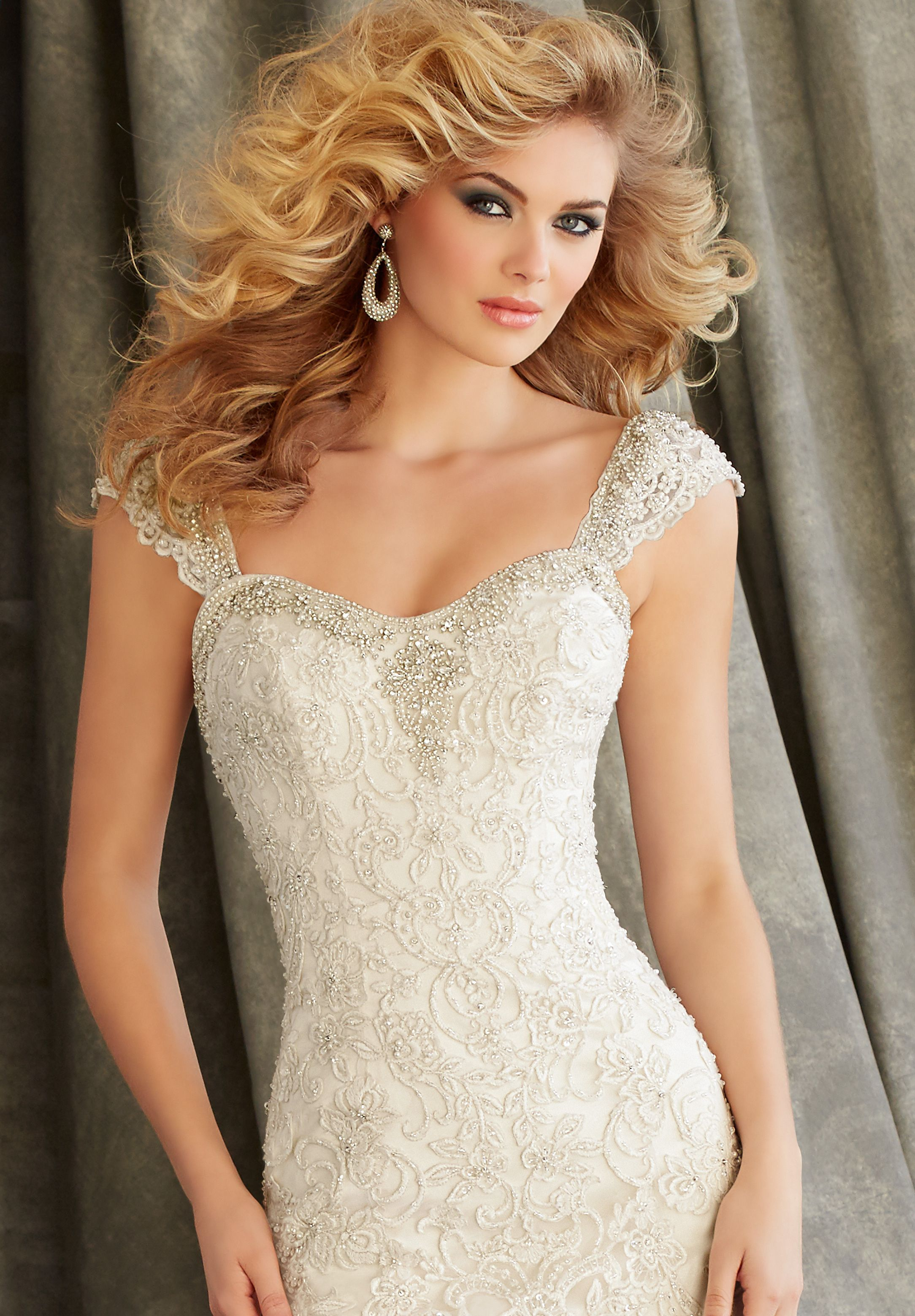 One of a kind wedding dresses  Morilee Bridal One of a Kind Beaded Cap Sleeves  lace finds