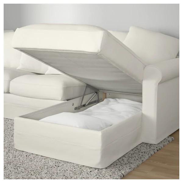 Gronlid Corner Sleeper Sofa 5 Seat With Chaise Inseros White Ikea Sofa Bed With Storage Sofa Back Cushions Deep Seat Cushions