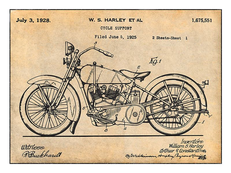 1928 Harley Davidson Motorcycle Hd V Twin Patent Print Art Drawing