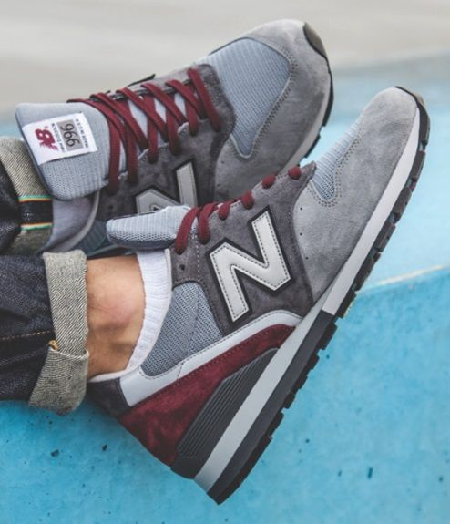New Balance 996 Made In Usa Grey Burgundy Sneakers Men Shoes Mens New Balance Shoes