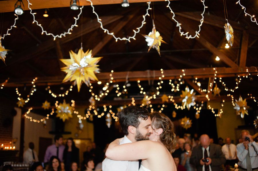 Love the lights and ceiling decor - A Misty Mountain Marriage | Etsy Weddings Blog