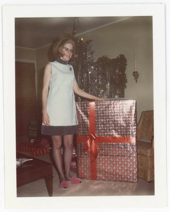 Vintage Photo 1969 Giant Woman W Giant Christmas Present Color