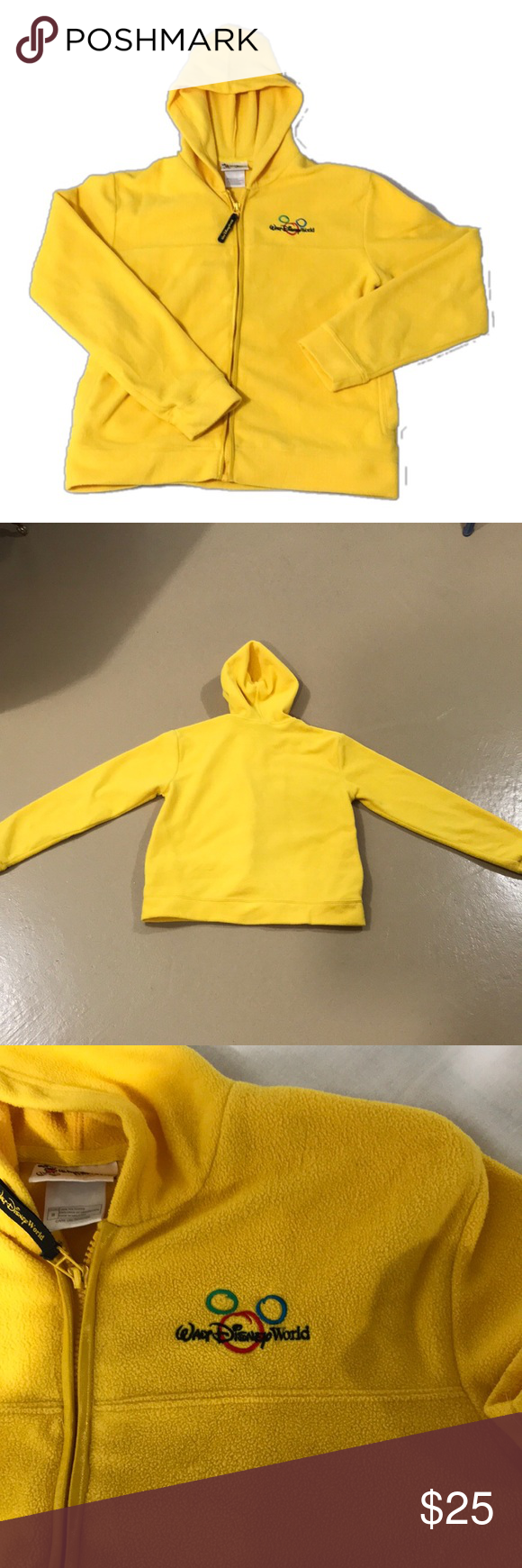 Disney world zipup yellow fleece jacket size s zip conditioning