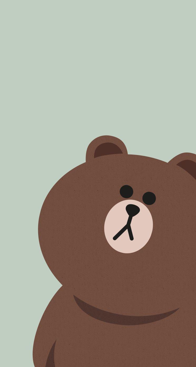 Line Wallpaper Iphone Kertas Dinding Seni Beruang Coklat