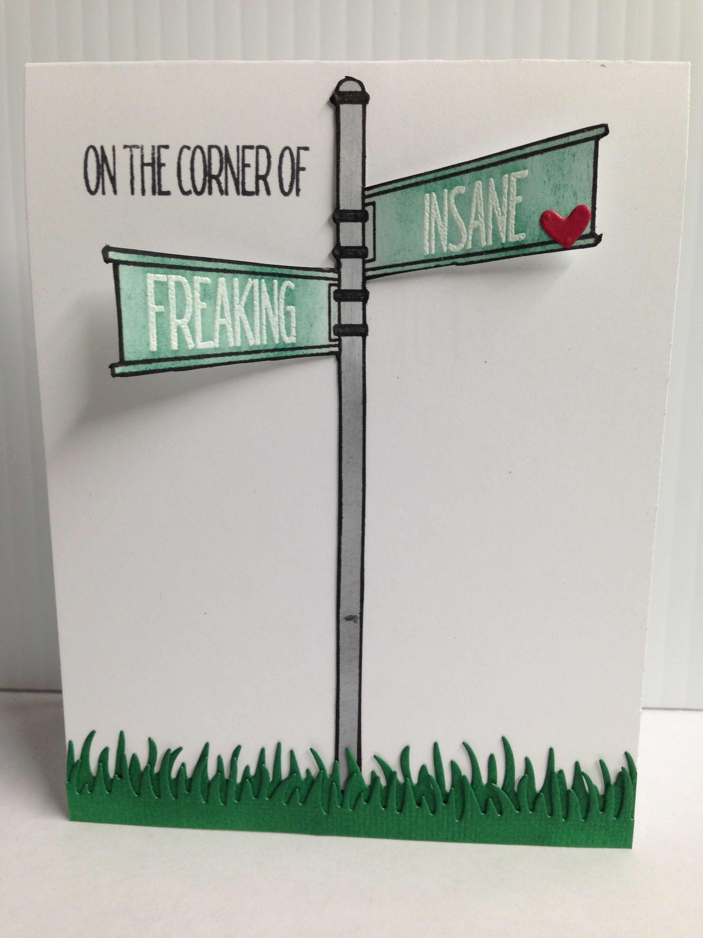 """Card Front. """"On the Corner"""" stamp set by Neat and Tangled."""