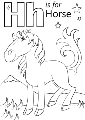 Letter H is for Horse coloring page from Letter H category. Select