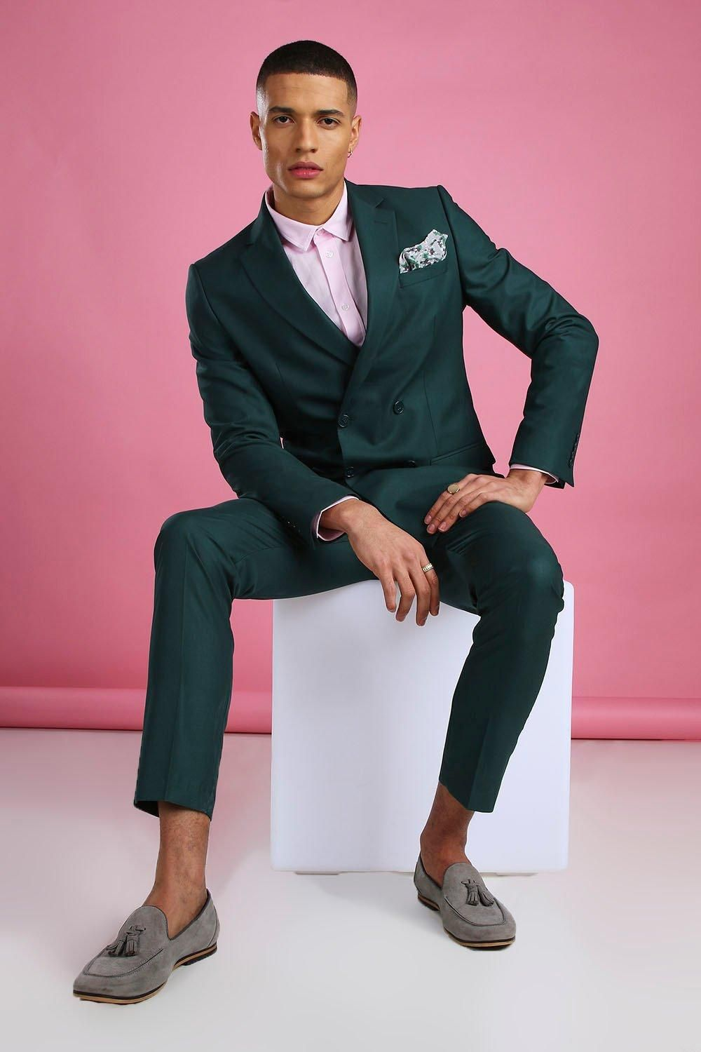 Skinny Plain Double Breasted Suit Jacket | boohooMAN in ...