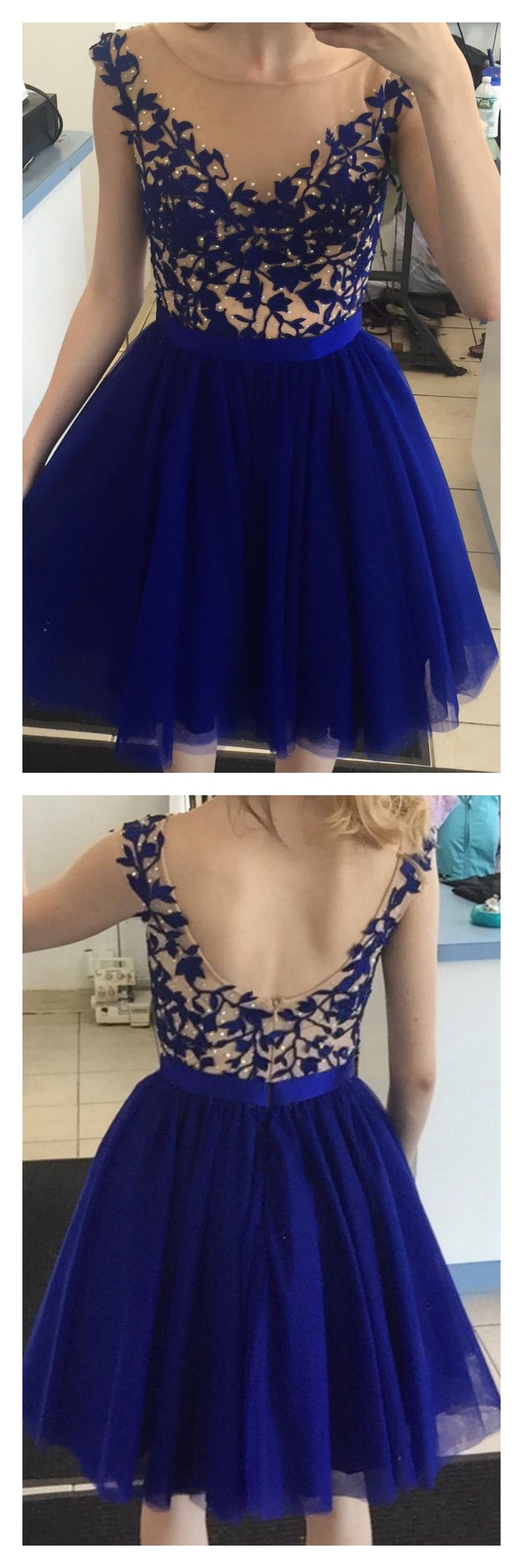 Royal blue short tulle homecoming dresses with appliqueed