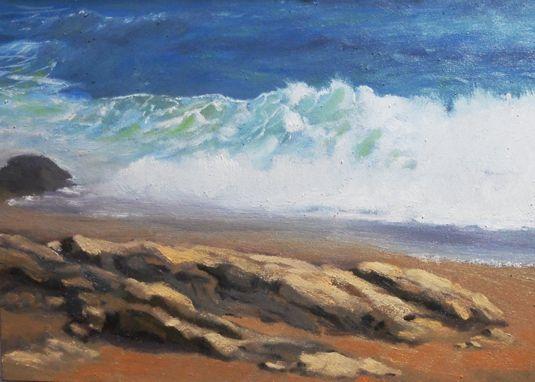 Rocks 'n Waves - Painting 39 Oil on Ampersand Gessobord  by Joanne Labato Stone