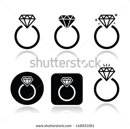 Diamond engagement ring vector icon wedding Pinterest Icons