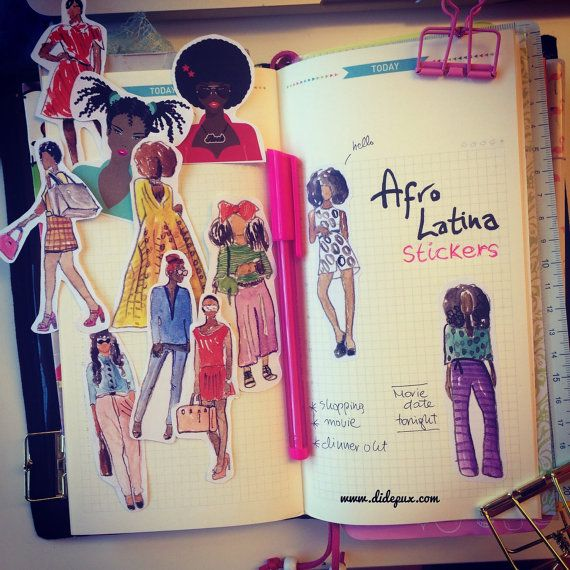 African American Latina Chic Girls Stickers Set Of 11 By