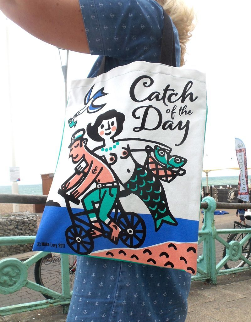 Screenprinted cotton tote bag by Mike Levy /'Catch of The Day/' nakedcyclingmermaidbeachsea