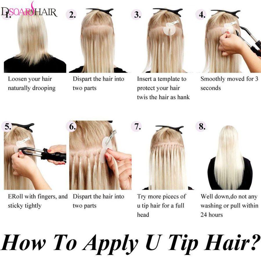 3e6b3ea006 100S Fusion Keratin Pre Bonded Nail U Tip Real Remy Human Hair ...