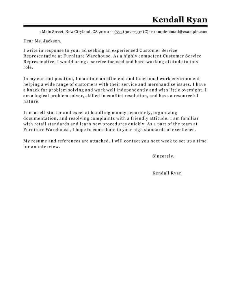 23 Customer Service Representative Cover Letter Customer
