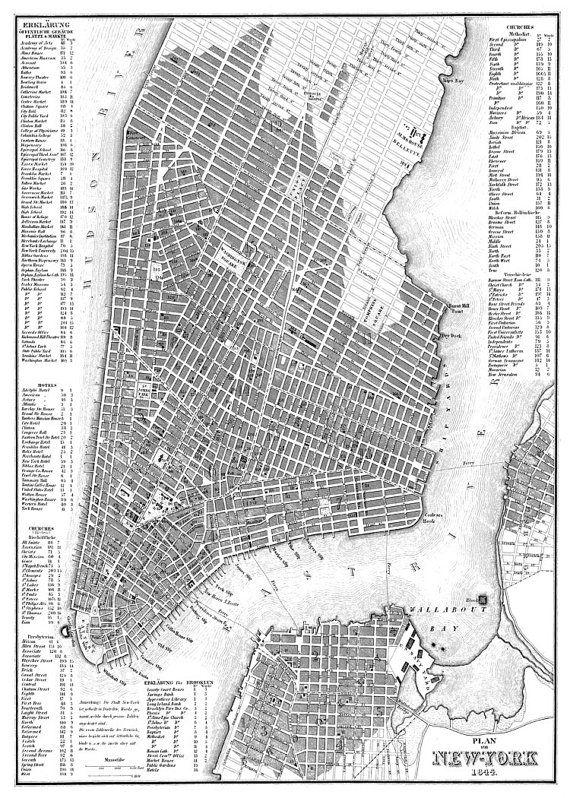 New York Map Manhattan Map Street Map Poster Print