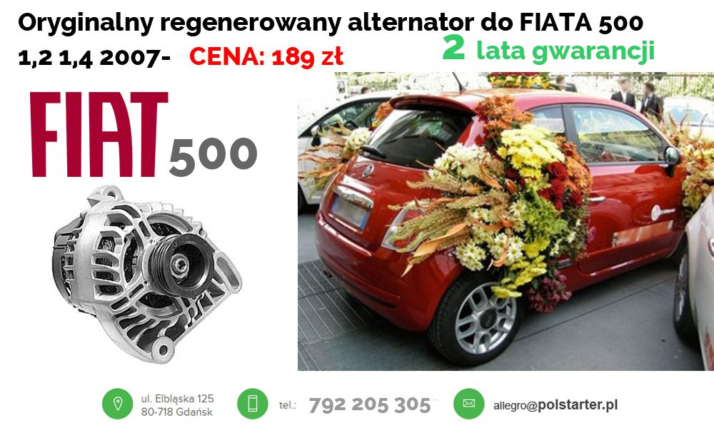 Alternator Fiat 500 Bravo Doblo Grande Punto Panda 6711922005 Oficjalne Archiwum Allegro Fiat 500 Fiat Alternator