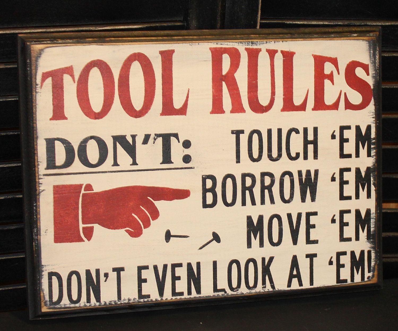 Garage Decor Signs Toolrulessignfathersdaygiftgiftgiftbythegingerbreadshoppe