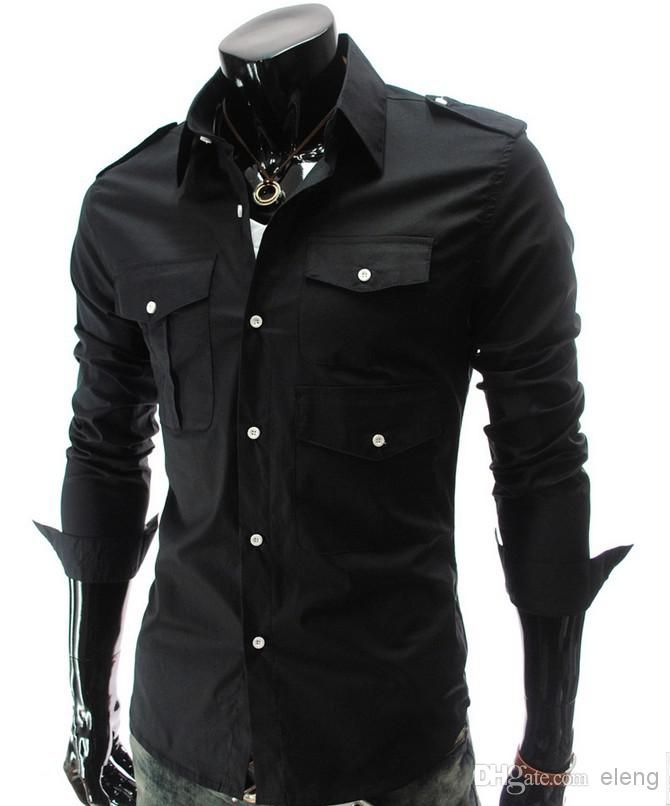 Gergeos Mens Embroidery Luxury Turn-down Collar Long Sleeve Autumn Winter Shirt