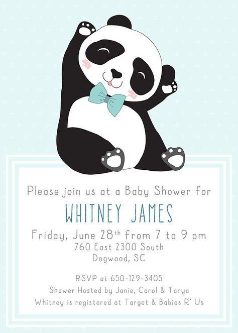 Der Panda Baby Shower Invitation Boy Digital By Klutzybug